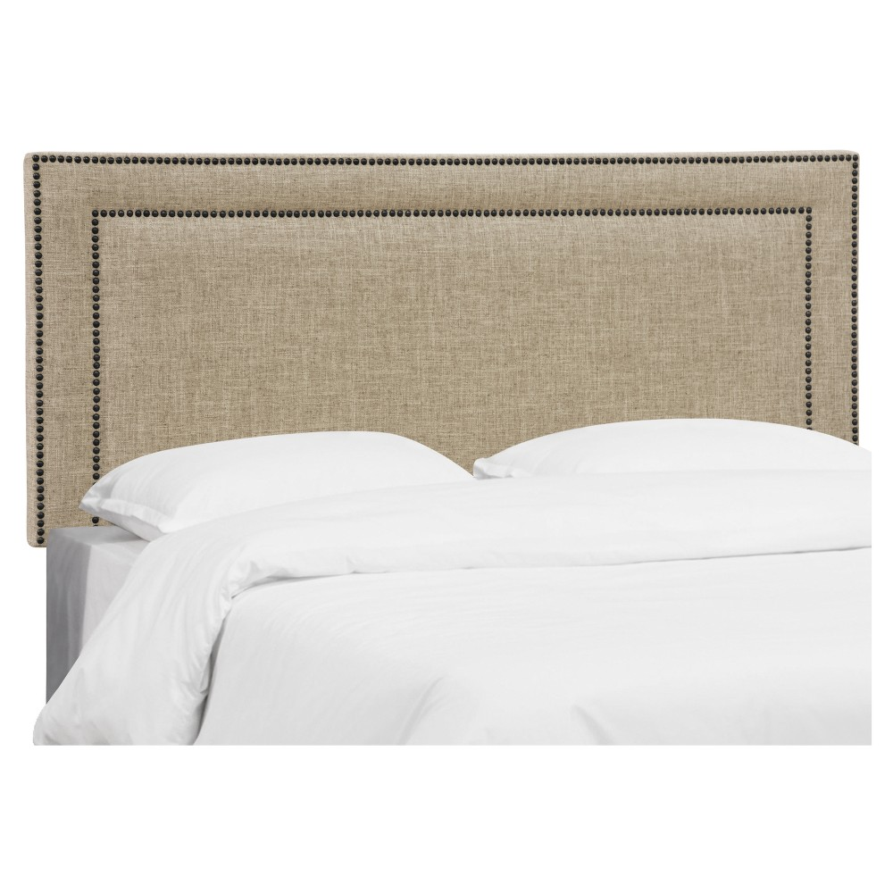 Queen Fremont Nail Button Border Headboard Zuma Linen - Skyline Furniture