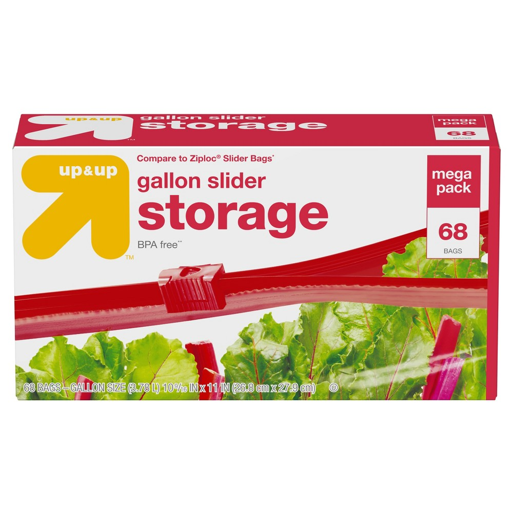 Gallon Slider Storage Bag 68ct -Up&Up (Compare to Ziploc Slider Bags), Clear