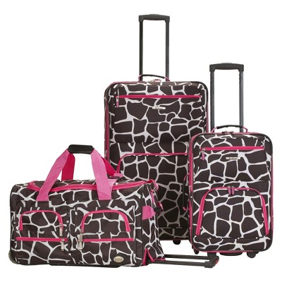 Rockland Spectra 3pc .Expandable Rolling Luggage Set - Pink Giraffe