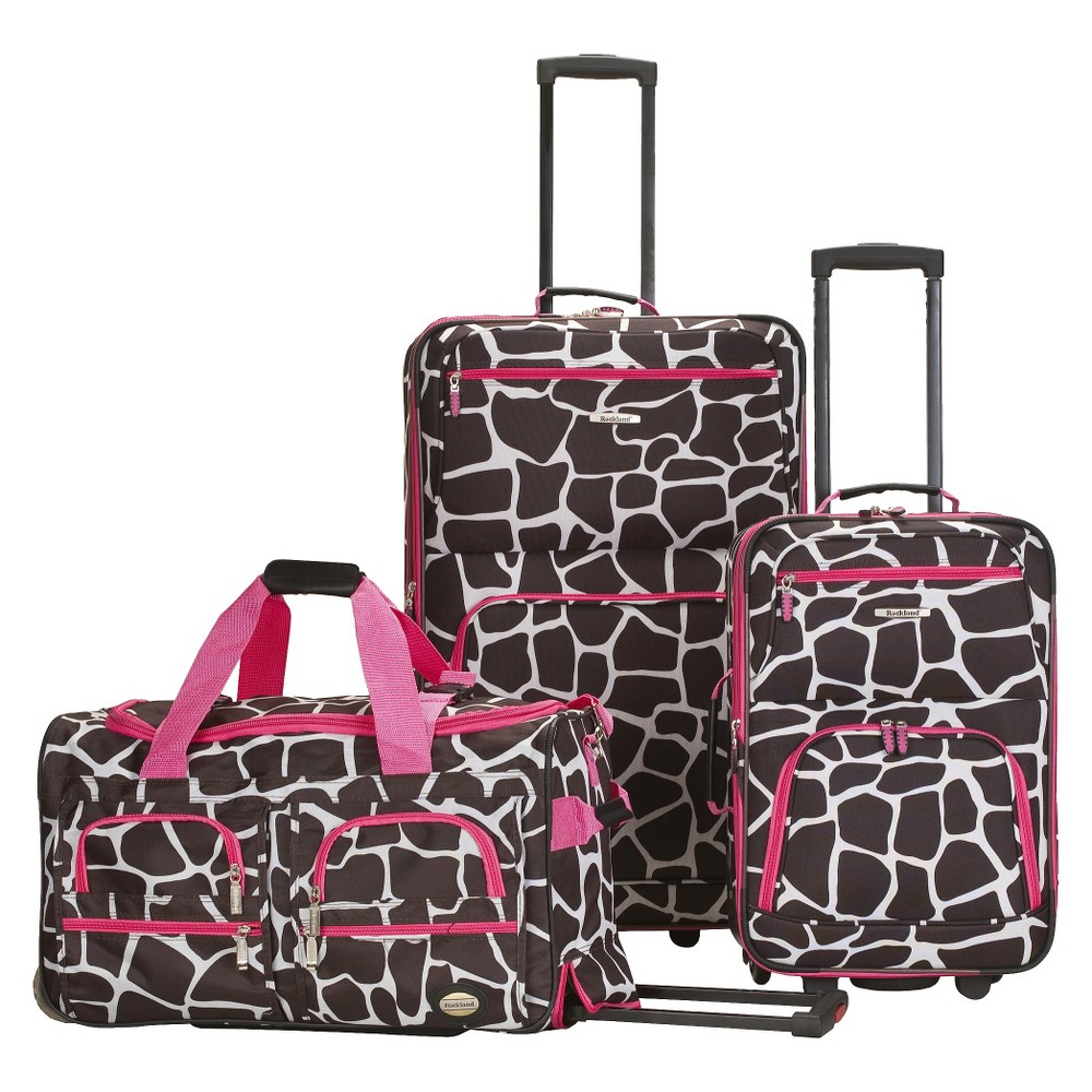 Rockland Spectra 3pc Expandable Rolling Luggage Set Pink Giraffe