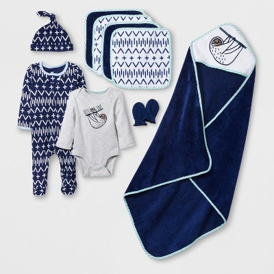 Baby Boys' 10pc  Take Me Home  Layette & Bath Set - Cloud Island™ Blue Newborn
