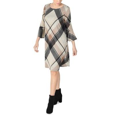 Sandra Darren - Women's 3/4 Bell Sleeve Printed Hacci Knit A-Line Dress