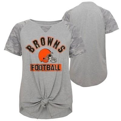 NFL Cleveland Browns Women's Short Sleeve Front Knot T-Shirt