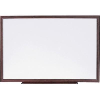 Lorell Dry-Erase Board Wood Frame 3'x2' Brown/White 84167