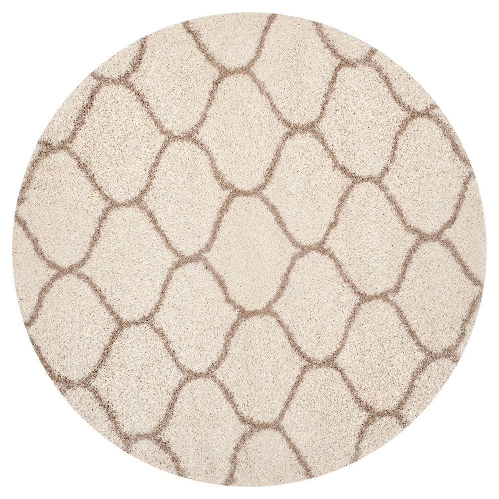 Ivory/Beige Abstract Loomed Round Area Rug - (7' Round) - Safavieh