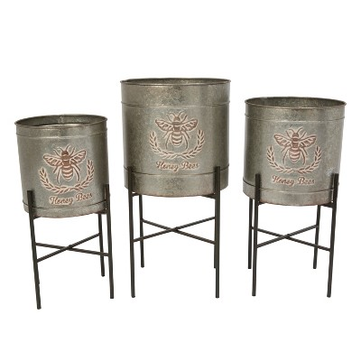 Gerson International Galvanized Metal Round Planters with Stands, Set of 3