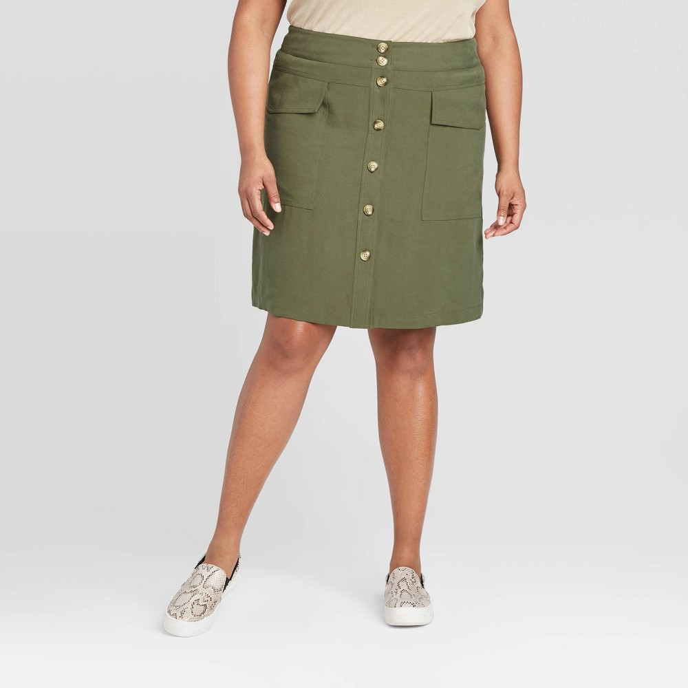 Women's Plus Size Utility Skirt - A New Day Green 16W, Women's was $27.99 now $19.59 (30.0% off)