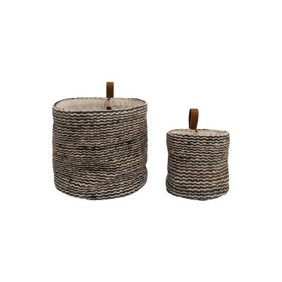 Set of 2 Decorative Jute Wall Basket Striped and Leather Loop Black - 3R Studios