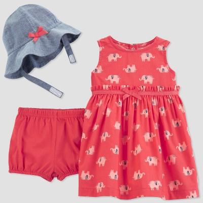 Baby Girls' 2pc Elephant Print Dress Set - Just One You® made by carter's Red Newborn
