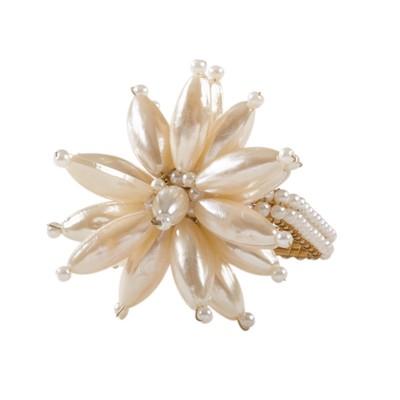 Ivory Faux Pearl Flower Design Wedding Special Napkin Ring Set of 4 - Saro Lifestyle