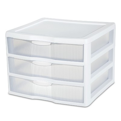 Sterilite 3 Drawer Large Countertop Unit White with Clear Drawers