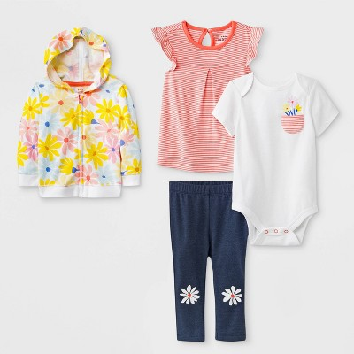 Baby Girls' Bodysuit, Tunic, Hoodie and Leggings Set - Cat & Jack™ Peach/White/Blue 24M
