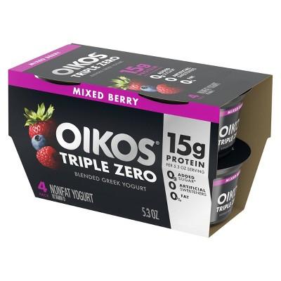Dannon Oikos Triple Zero Greek Style Yogurt Mixed Berry - 5.3oz