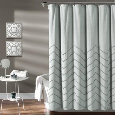 Chenille Chevron Shower Curtain Pastel Blue - Lush Decor