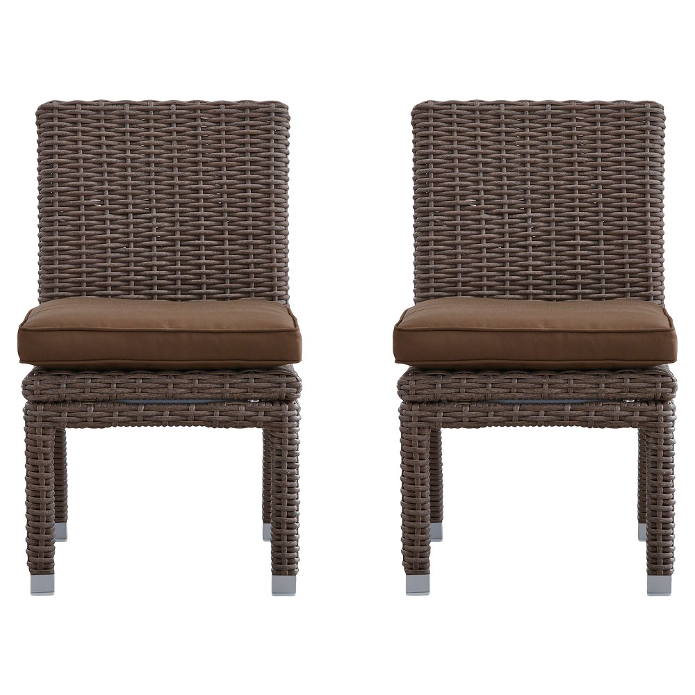 Riviera Pointe 2pc Wicker Patio Dining Side Chair - Mocha/Brown - Inspire Q