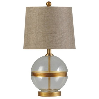 Midfield Glass and Steel Table Lamp Clear - StyleCraft