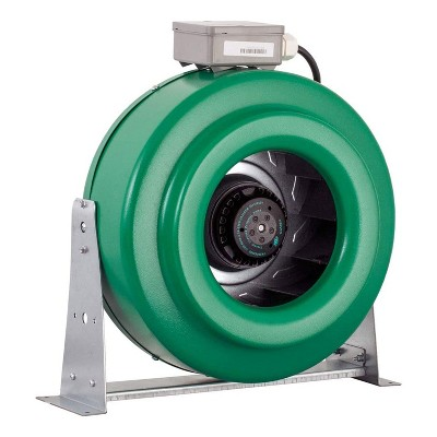 Hydrofarm ACDF10 Active Air 10 Inch Inline Duct Fan Blower with Mount Brackets, Low Noise Output, and UL Components Rated for 760 CFM, Green