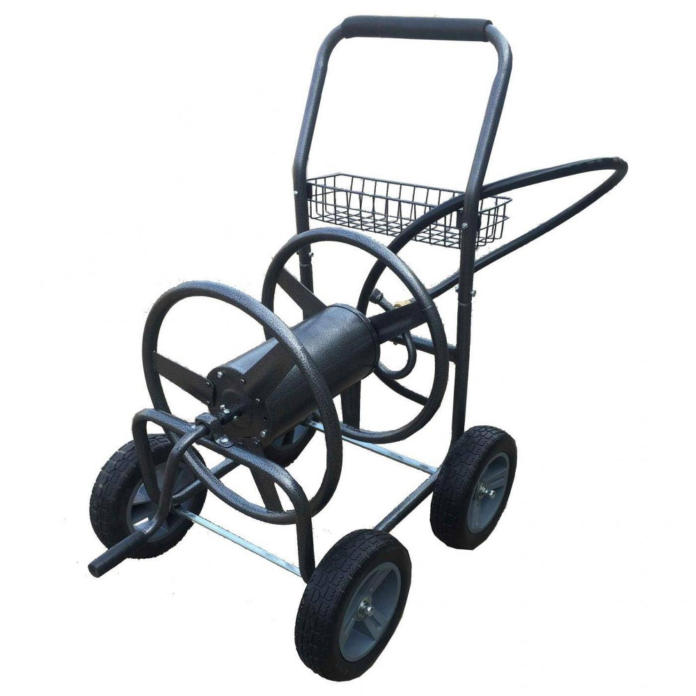 Image of Hose Cart with 4 Wheels Gray - Backyard Expressions