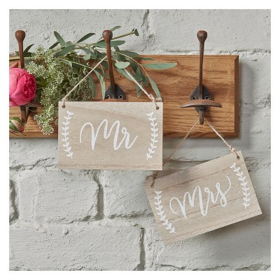 "2ct ""Mr. And Mrs"" Wooden Chair Hanging Signs"