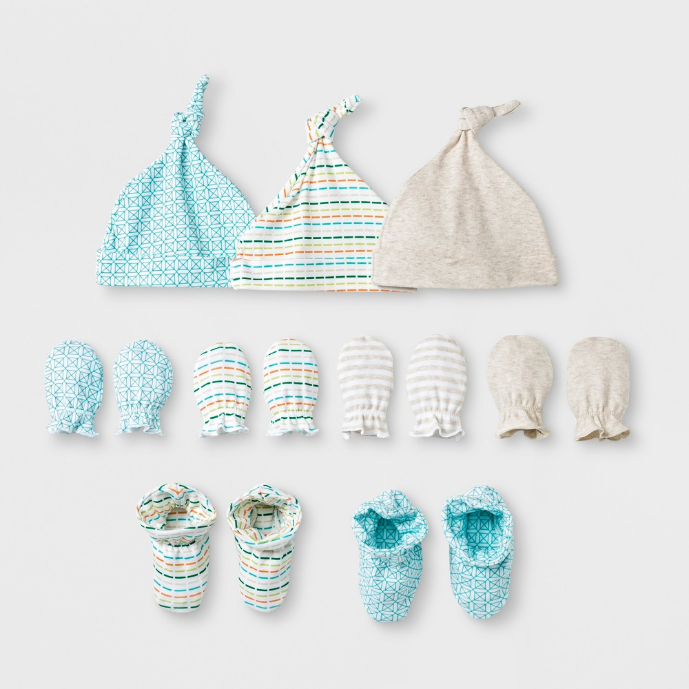 Baby's Sweet Critters 9pc Hat, Bootie and Mittens Bundle - Cloud Island Oatmeal Heather 0-6M, Brown