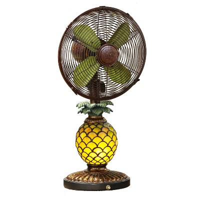 DecoBreeze Ocsillating 3 Speed Table Fan and Tiffany Style Mosaic Glass Pattern Pineapple Table Lamp with Quiet Motor