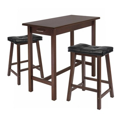 3pc Dining Set with Cushion Seat Wood/Walnut/Black - Winsome