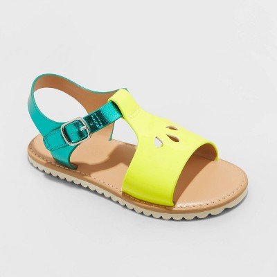 Toddler Girls' Pam Ankle Strap Sandals - Cat & Jack™ Bright Yellow