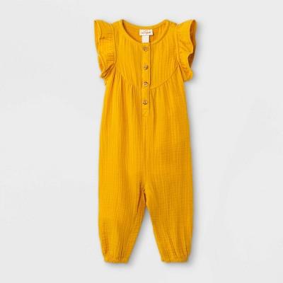Baby Girls' Gauze Romper - Cat & Jack™ Mustard Yellow 12M