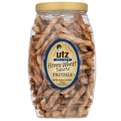 Utz Honey Wheat Braided Twists Pretzels Barrel - 26oz
