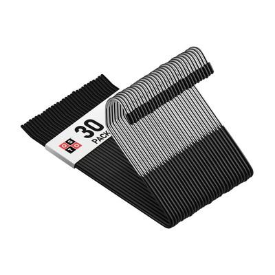 OSTO Black Metal Pant Hangers; Open Ended Hangers for Pants, Slack, Trouser, or Jeans, Nonslip Rubber-Coated Anti-Rust Metal