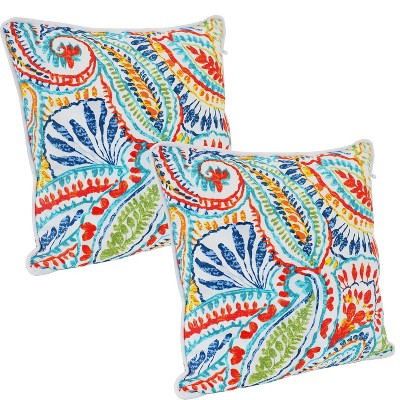 """Sunnydaze Indoor/Outdoor Square Accent Decorative Throw Pillows for Patio or Living Room Furniture - 16"""" - Bold Paisley - 2pc"""