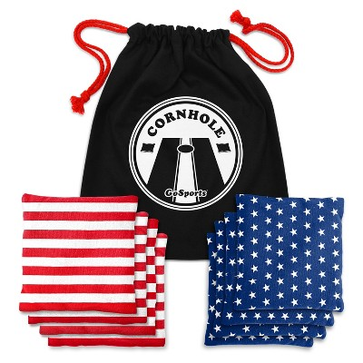 GoSports Official Regulation Replacement Cornhole Bean Bags Set of 8 All Weather Bags, America Stars and Stripes
