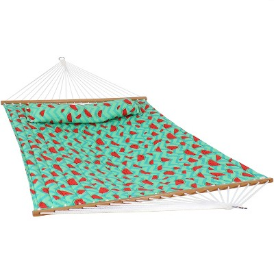 2-Person Quilted Printed Fabric Spreader Bar Hammock and Pillow - Watermelon and Chevron - Sunnydaze Decor