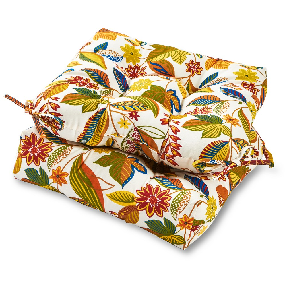 Set of 2 Esprit Floral Outdoor Seat Cushions - Greendale Home Fashions
