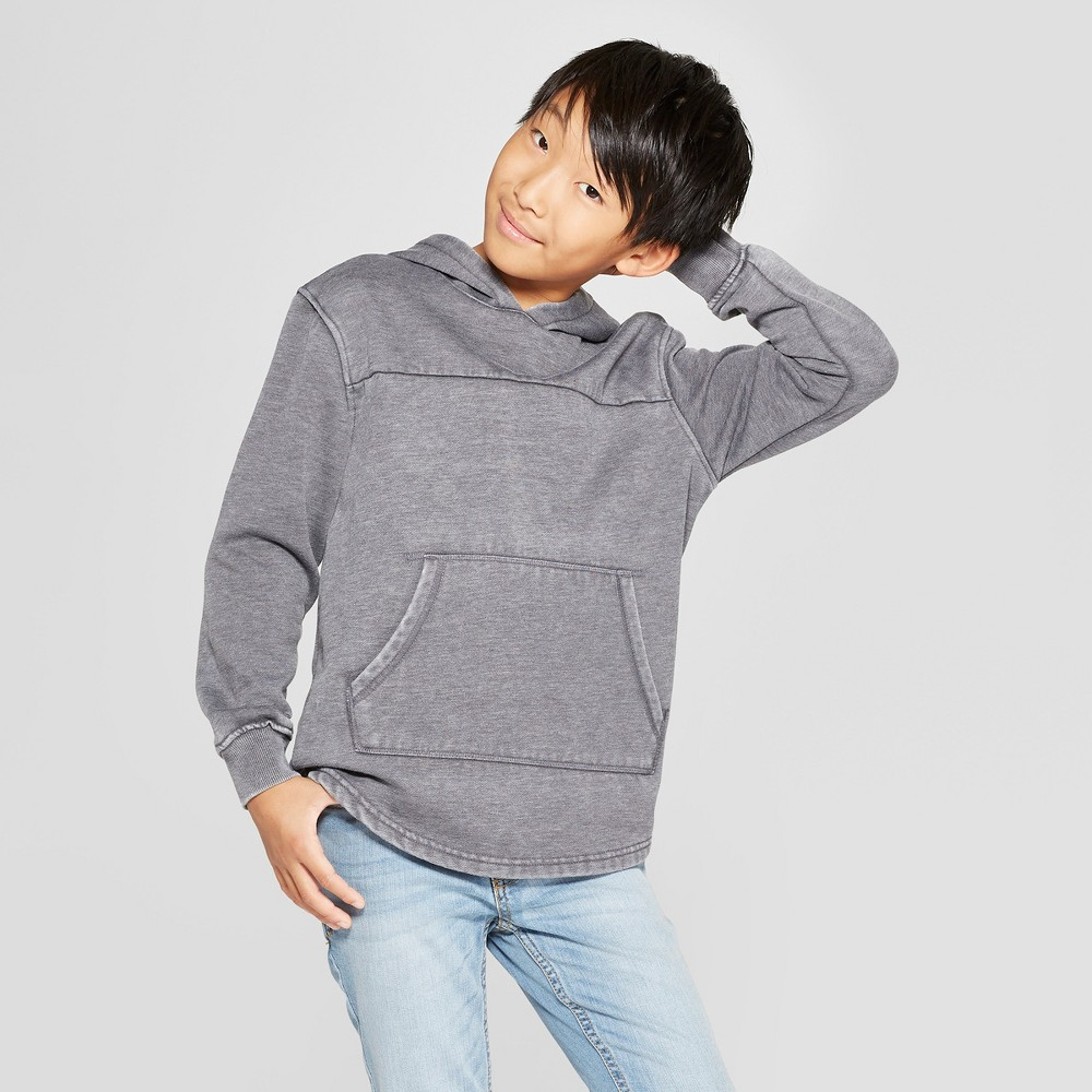 Boys' Hooded Sunburn Wash Sweatshirt - Cat & Jack Heather Gray XL