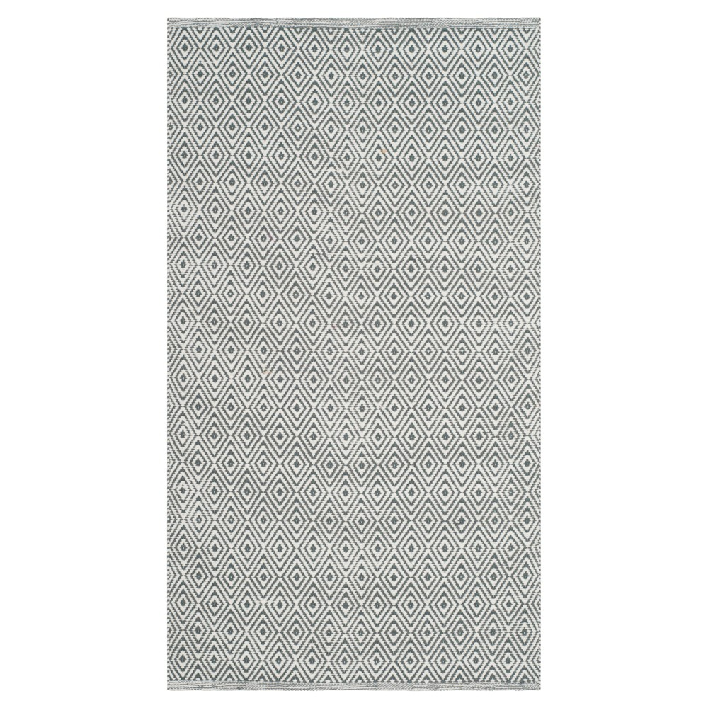 Ivory/Gray Stripe Flatweave Woven Accent Rug - (2'6X4') - Safavieh