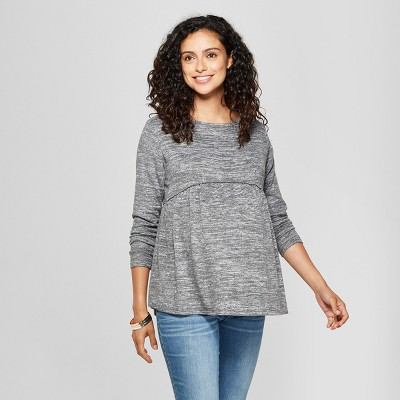 Maternity Long Sleeve Relaxed Babydoll T-Shirt - Isabel Maternity by Ingrid & Isabel™ Heather Gray XS