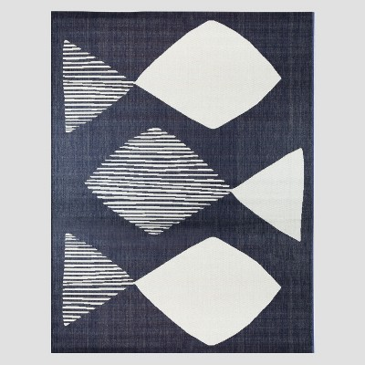 7' x 10' Mod Fish Outdoor Rug Navy - Project 62™