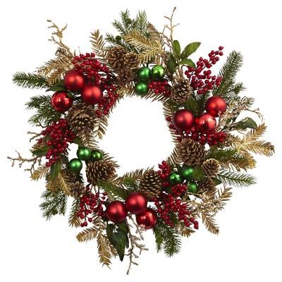 Ornament, Pine & Pine Cone Wreath (24 )- Nearly Natural