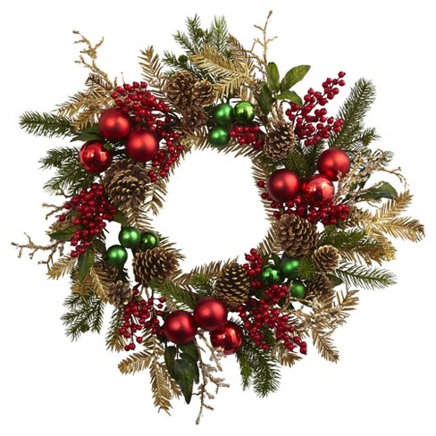 "Ornament, Pine & Pine Cone Wreath (24"") - Nearly Natural - image 1 of 2"