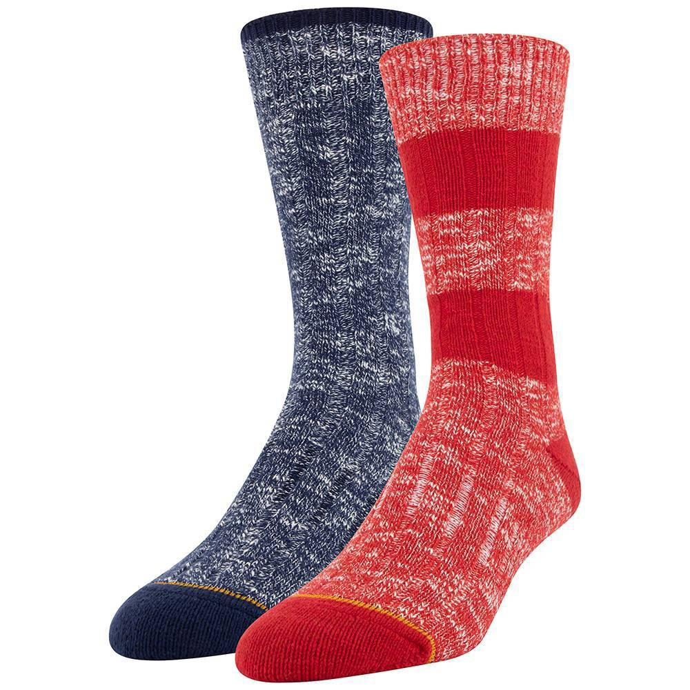Image of Signature Gold by Goldtoe Men's 2pk Ultra Soft Crew Socks - Red 6-12