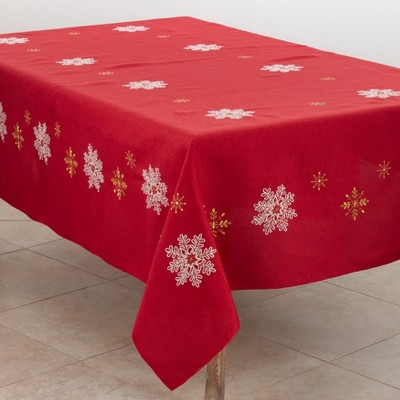 Saro Lifestyle Delicate Snowflakes Holiday Tablecloth