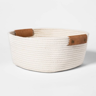 "13"" Decorative Coiled Rope Square Base Tapered Basket Small White - Threshold™"