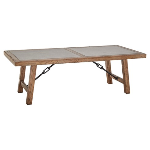 Barbaro Wood & Concrete Farmhouse Dining Table - Distressed Pine - Inspire Q - image 1 of 8