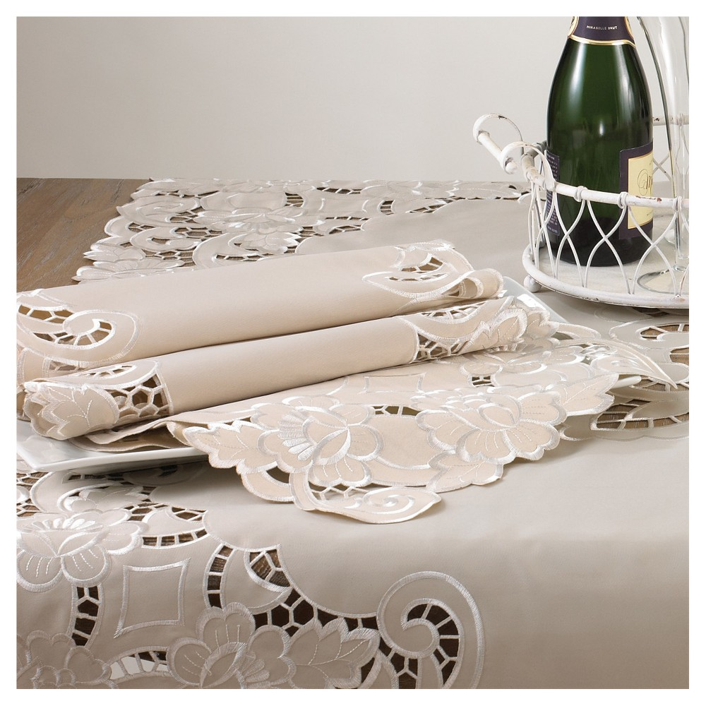 Embroidered and Cutwork Tray cloth Platinum (White) (12