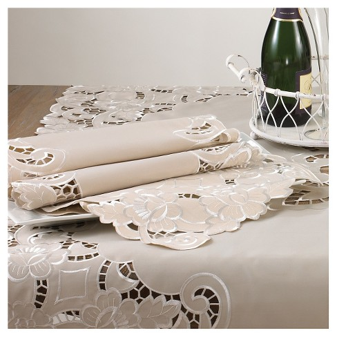 "Embroidered and Cutwork Tray cloth Platinum (12""x18"" - Set of 12) - image 1 of 1"
