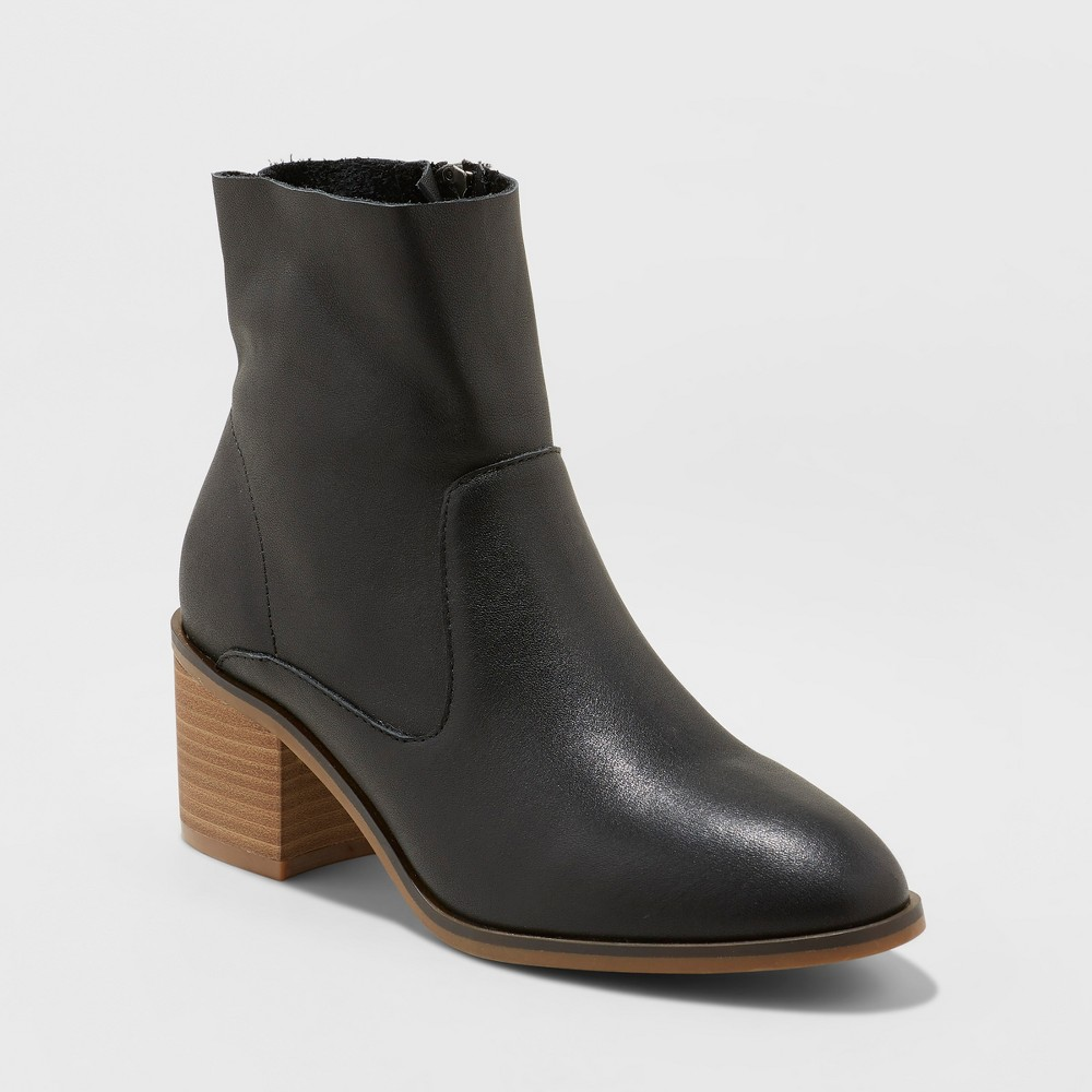 Women's Reagan Heeled Leather Ankle Boots - Universal Thread Black 9.5