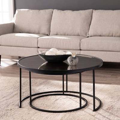 2pc Downhem Round Nesting Cocktail Tables Antique Mirrored/Black - Aiden Lane
