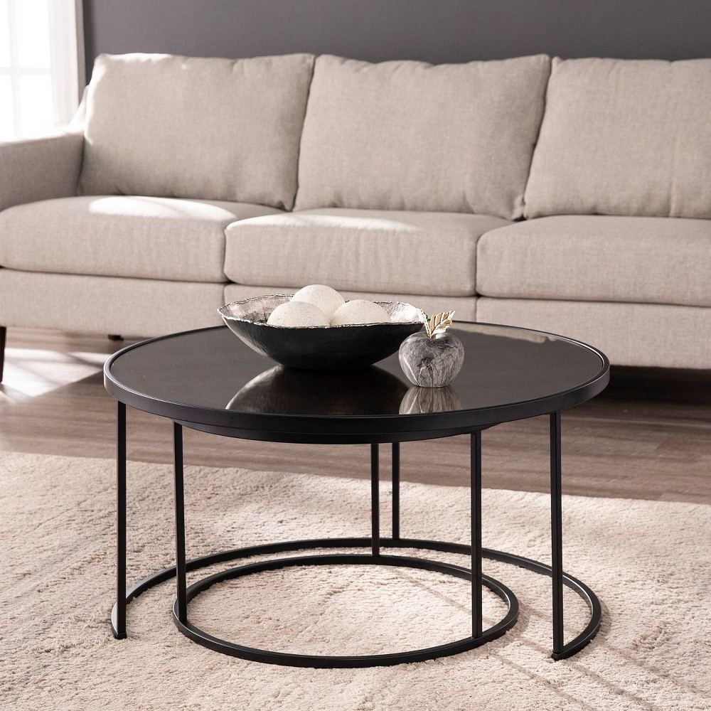 Image of 2pc Downhem Round Nesting Cocktail Tables Antique Mirrored/Black - Aiden Lane