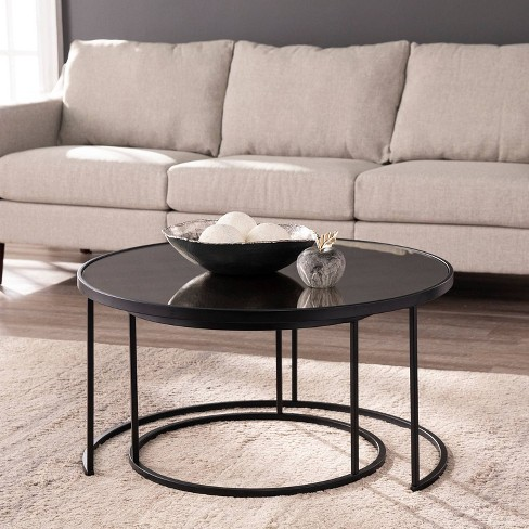 2pc Downhem Round Nesting Tail, Nesting Coffee Tables Round